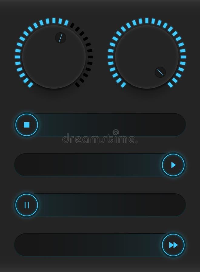Satz glühende blaue Knöpfe und Schieber sechs Ikonen platziert auf einen schwarzen Hintergrund Steuern Sie Benutzerschnittstelle  lizenzfreie abbildung