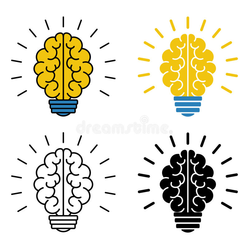 Satz Glühlampeikonen des Gehirns Auch im corel abgehobenen Betrag vektor abbildung