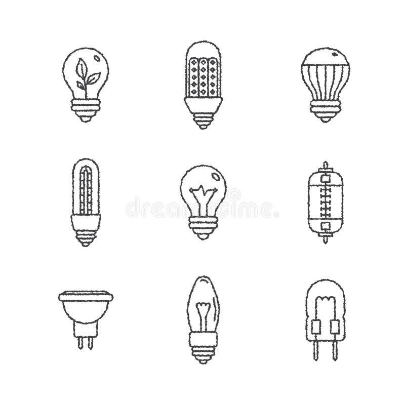 Satz Glühlampeikonen und -konzepte des Vektors in der Skizzenart vektor abbildung