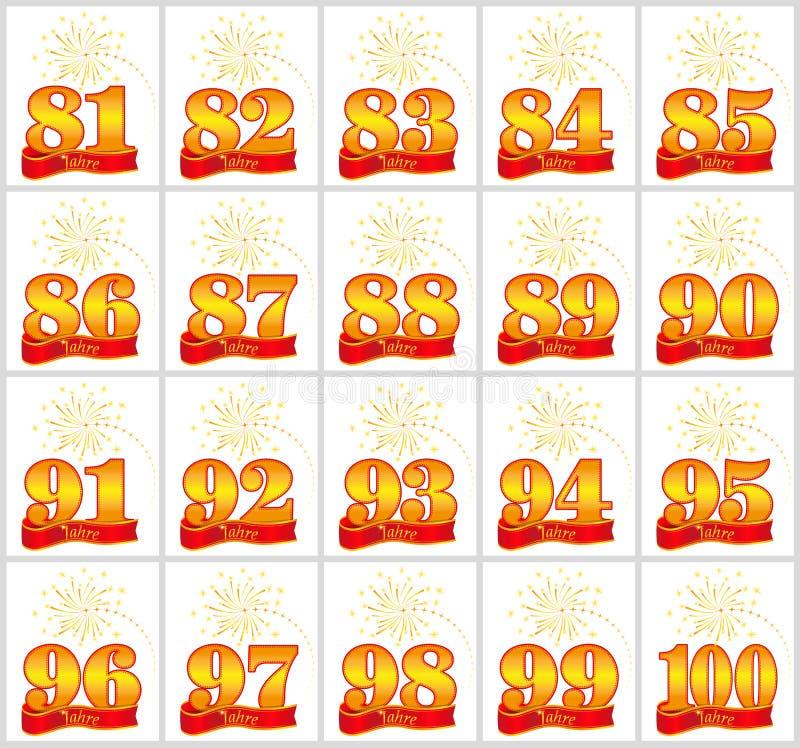 Satz Gold nummeriert von 81 bis 100 und vom Wort des Jahres auf dem Hintergrund eines roten Bandes Auch im corel abgehobenen Betr stock abbildung