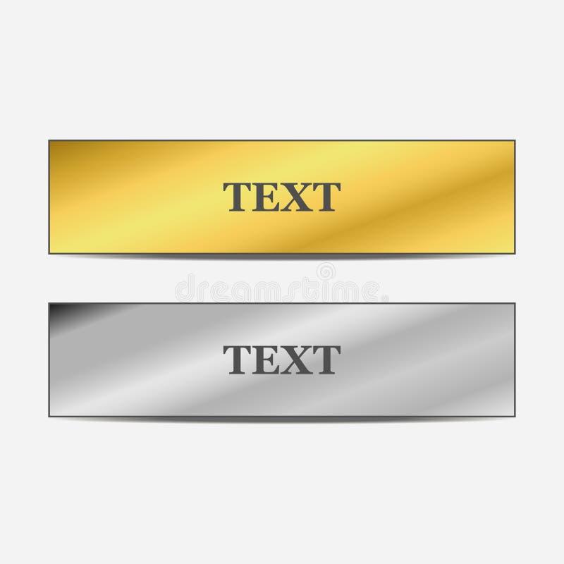 Satz Gold- und Metallfahnen mit Schatten Auch im corel abgehobenen Betrag lizenzfreie abbildung