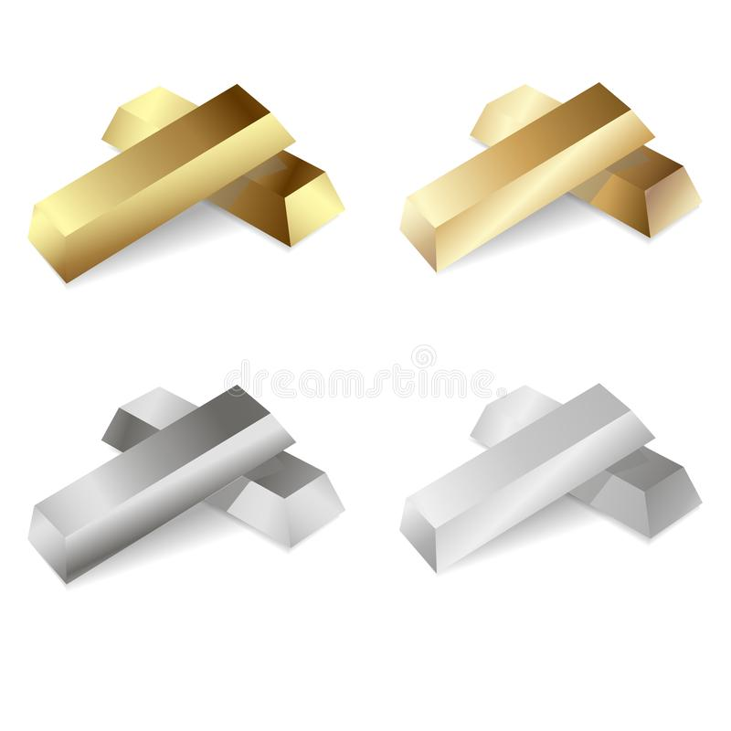 Satz Gold- und Silberbarren Auch im corel abgehobenen Betrag lizenzfreie abbildung