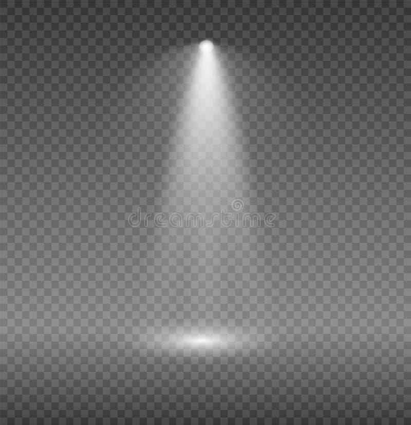 Satz goldene glühende Lichteffekte lokalisiert auf transparenten Hintergrund Sun-Blitz mit Strahlen und Scheinwerfer Glühen-Licht stock abbildung