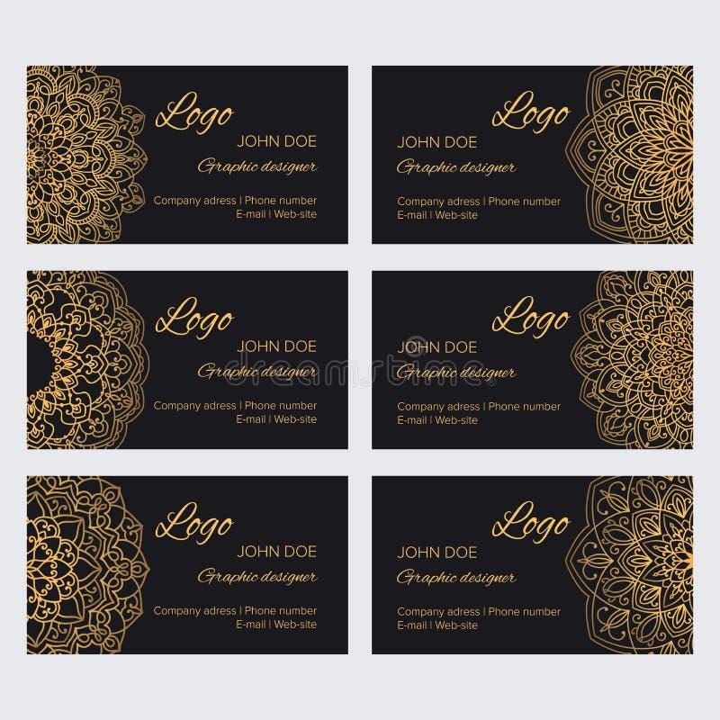 Satz goldene indische Luxusverzierungen für Identitäts-, Netz- und printsMandalavisitenkartedesignschablone vector Sammlung lizenzfreie abbildung