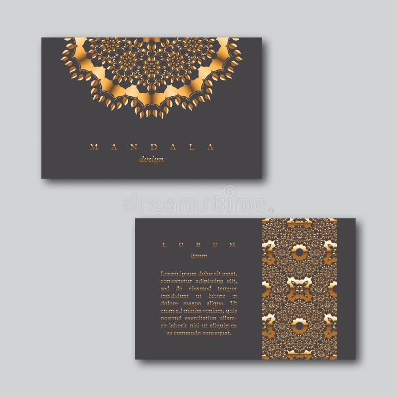 Satz goldene Karten des dekorativen Geschäfts mit Mandala und Muster lizenzfreie abbildung