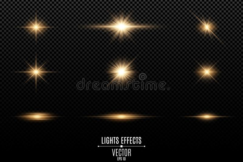 Satz goldene Lichteffekte auf einen transparenten Hintergrund Blitze und greller Glanz Helle Strahlen der Leuchte Glühende Zeilen lizenzfreie abbildung