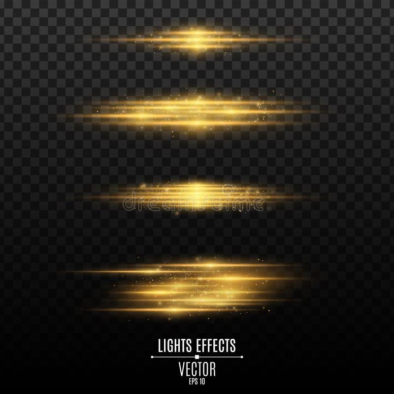 Satz goldene Lichteffekte auf einen transparenten Hintergrund Blitze und greller Glanz Neonstrahlen des Lichtes Glühende unscharf vektor abbildung