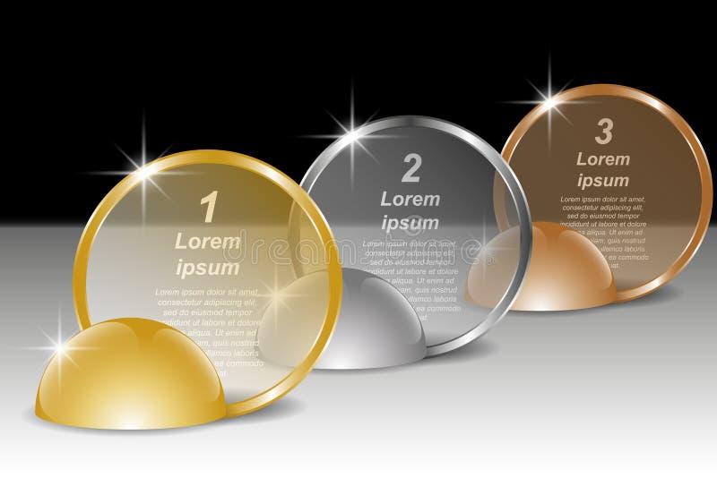 Satz goldene, silberne und runde transparente Bronzefahnen für Text Infographic Schablone vektor abbildung