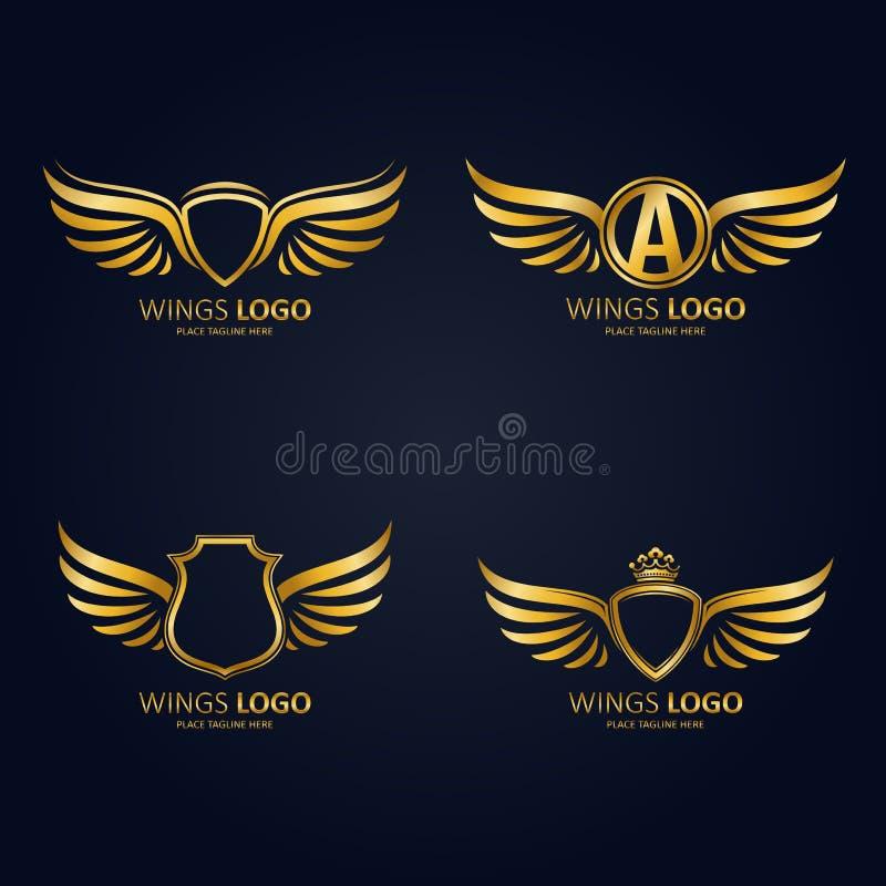 Satz Goldheraldische geflügelte Schilder in den verschiedenen Formen mit Kronen und Ikone des Anfangsbuchstaben A stock abbildung