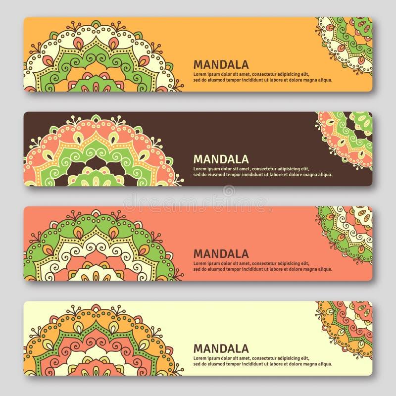 Satz gorizontal Karten mit Hand gezeichneter Mandala Orientalische Art, lizenzfreie abbildung