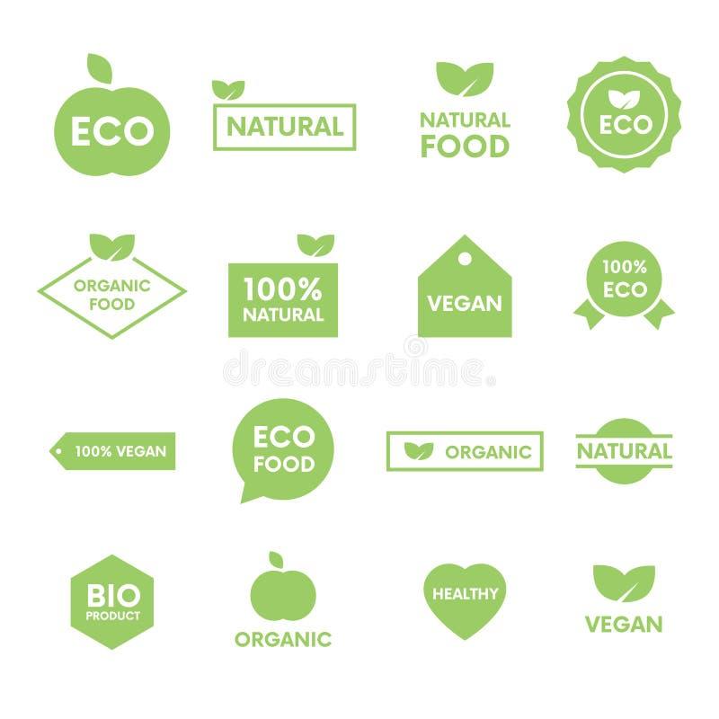 Satz Grünaufkleber und -ausweise mit Blättern für organisches, natürliches, Bio und Bioprodukte auf weißem Hintergrund stock abbildung