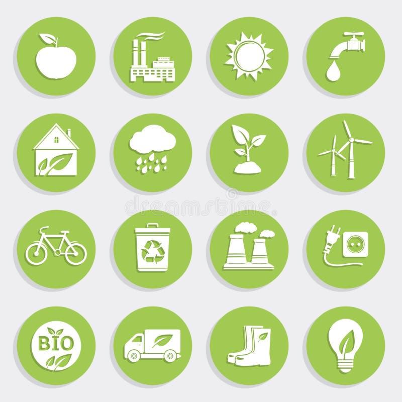 Satz grüne Ökologie-flache Ikonen lizenzfreie abbildung