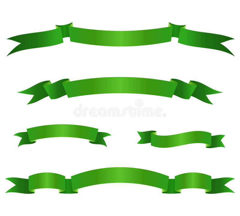 Satz grüne Bandfahnen Rollenelemente Auch im corel abgehobenen Betrag vektor abbildung