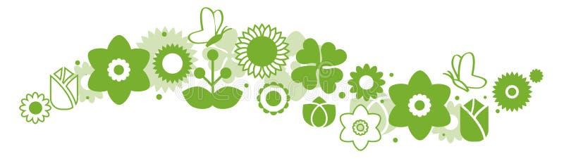 Satz grüne Ikonenblumenikonen vektor abbildung