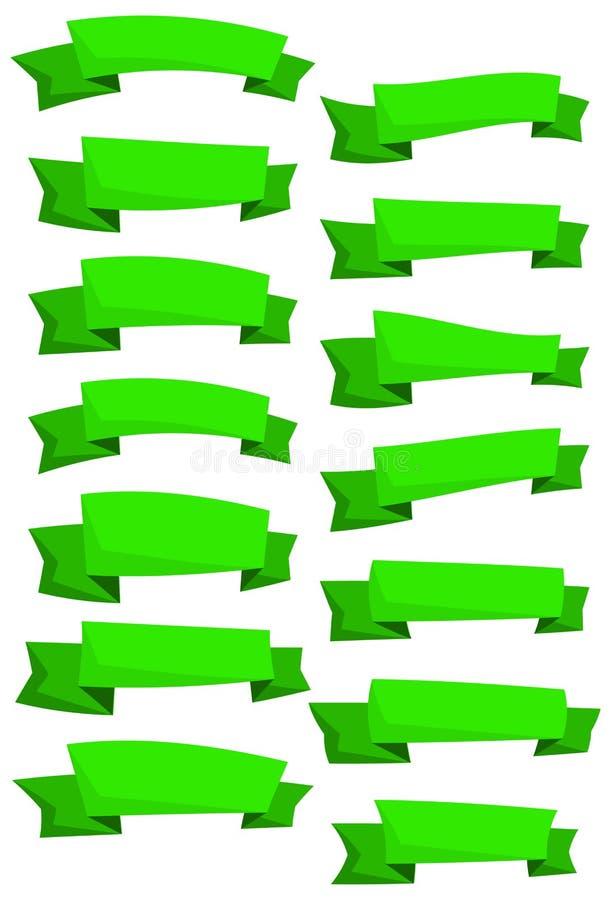 Satz grüne Karikaturbänder und -fahnen für Webdesign Großes Gestaltungselement lokalisiert auf weißem Hintergrund vektor abbildung