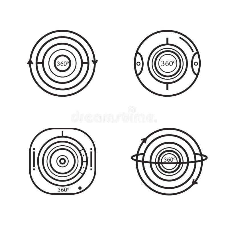 Satz 360-Grad-Videokameraikonen stock abbildung