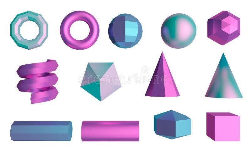 Satz grafische Elemente Würfel, Bereich, Rohre und Kegel Wiedergabe 3d lizenzfreie abbildung