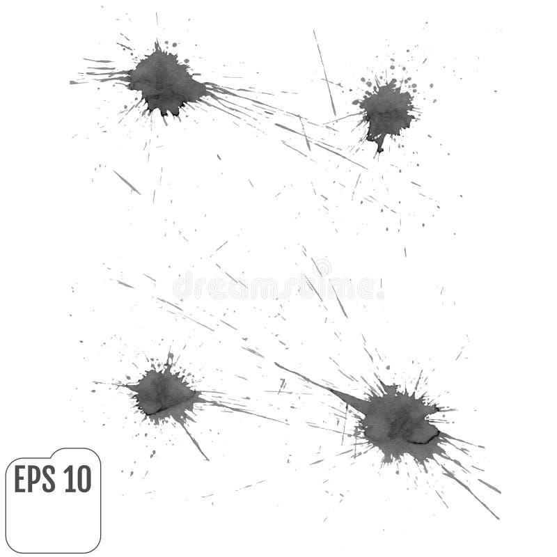 Satz graues Spritzen auf weißem Hintergrund Schmutztinte Flecken und dro lizenzfreie abbildung