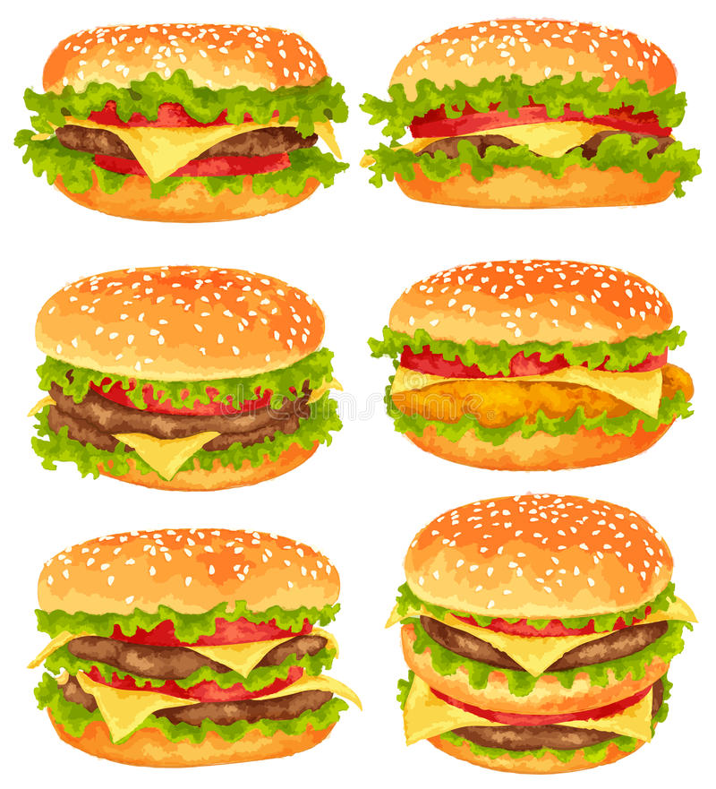Satz große Burger stock abbildung