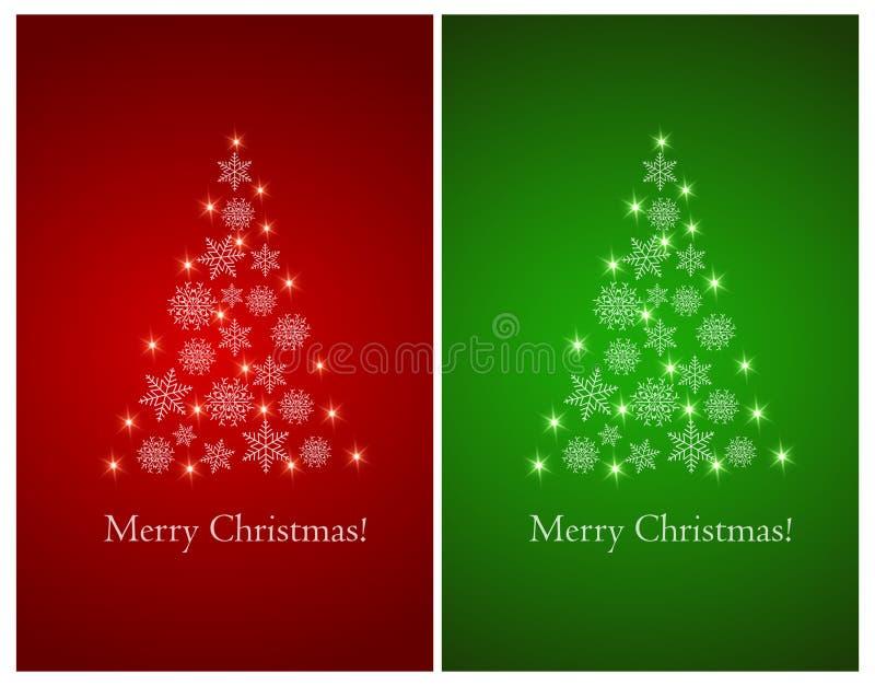 Satz Grußkarten mit abstraktem Weihnachtsbaum von Schneeflocken stock abbildung