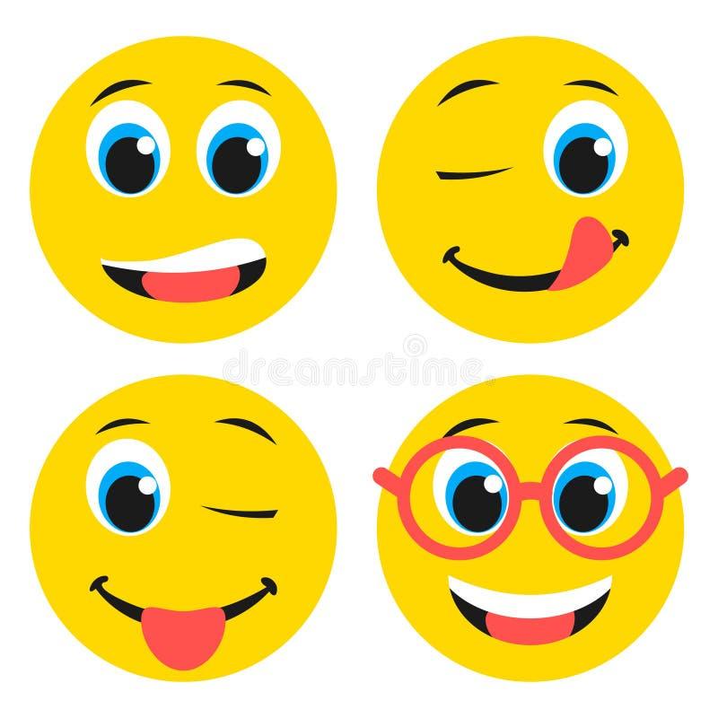 Satz grundlegende Junge Emoticons im flachen Design lizenzfreie abbildung