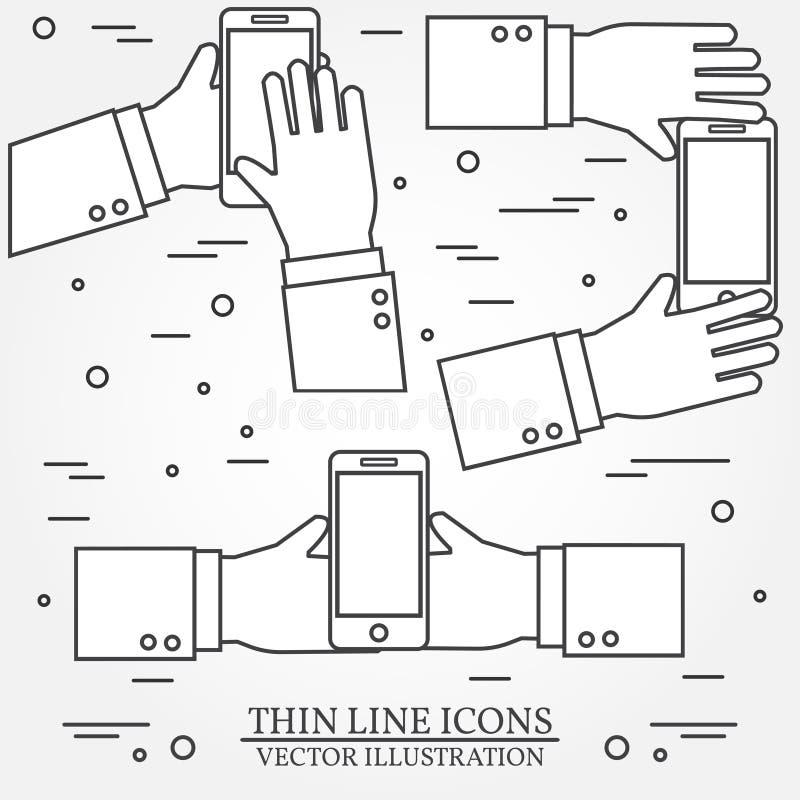 Satz Hände, die Handy halten Dünne Linie Ikone Vektor illustr stock abbildung