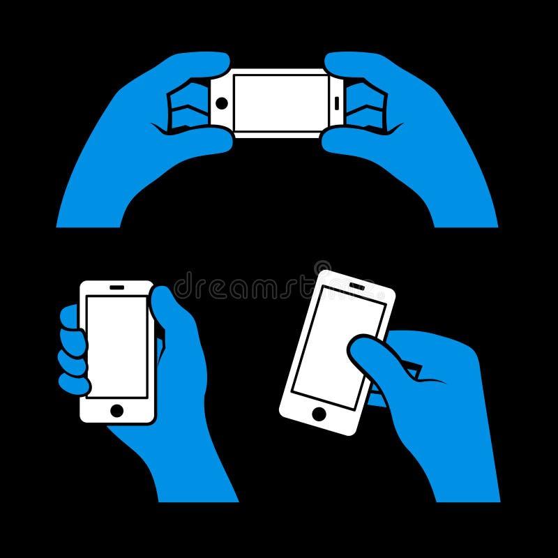 Satz Hände, die intelligentes Telefon, Vektor halten vektor abbildung
