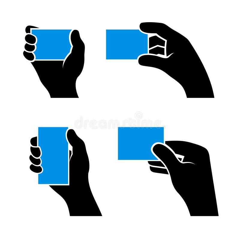 Satz Hände, die verschiedene Visitenkarten halten lizenzfreie abbildung