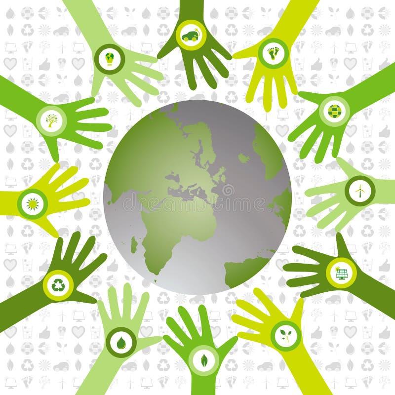 Satz Hände mit den Bioikonen, die aufgeben, um Klimawelt zu grünen vektor abbildung