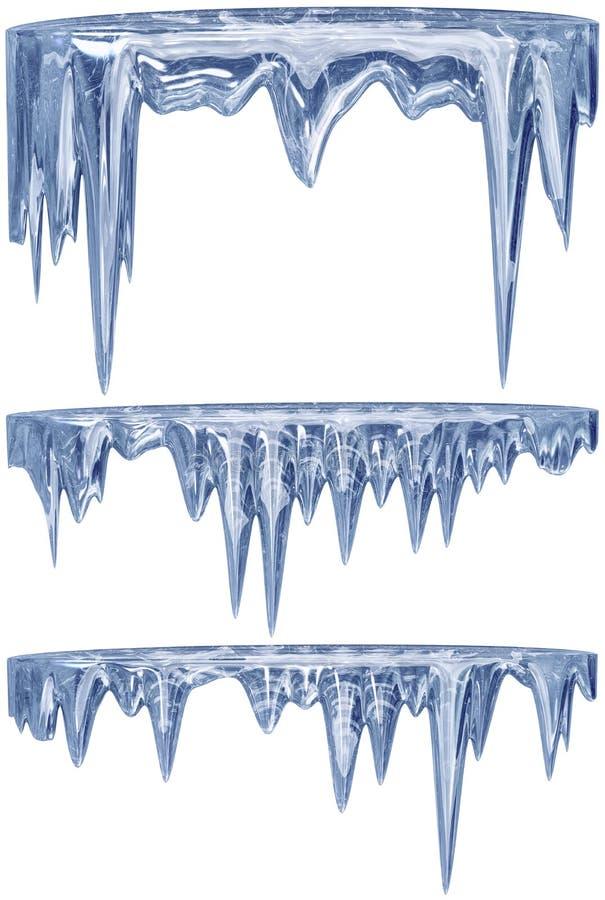 Satz hängende Auftaueneiszapfen eines blauen Schattens stock abbildung