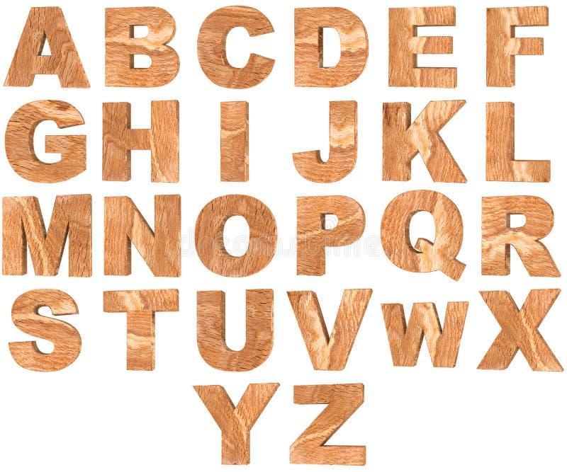 Satz hölzerne englisches Alphabet 3D Buchstaben und Zahlen von null bis neun lokalisiert auf weißem Hintergrund stock abbildung