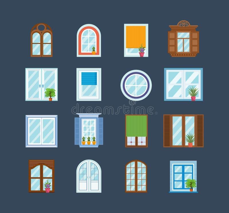 Satz hölzerne Fensterrahmen Architekturdesign im Freien, Außenansicht vektor abbildung