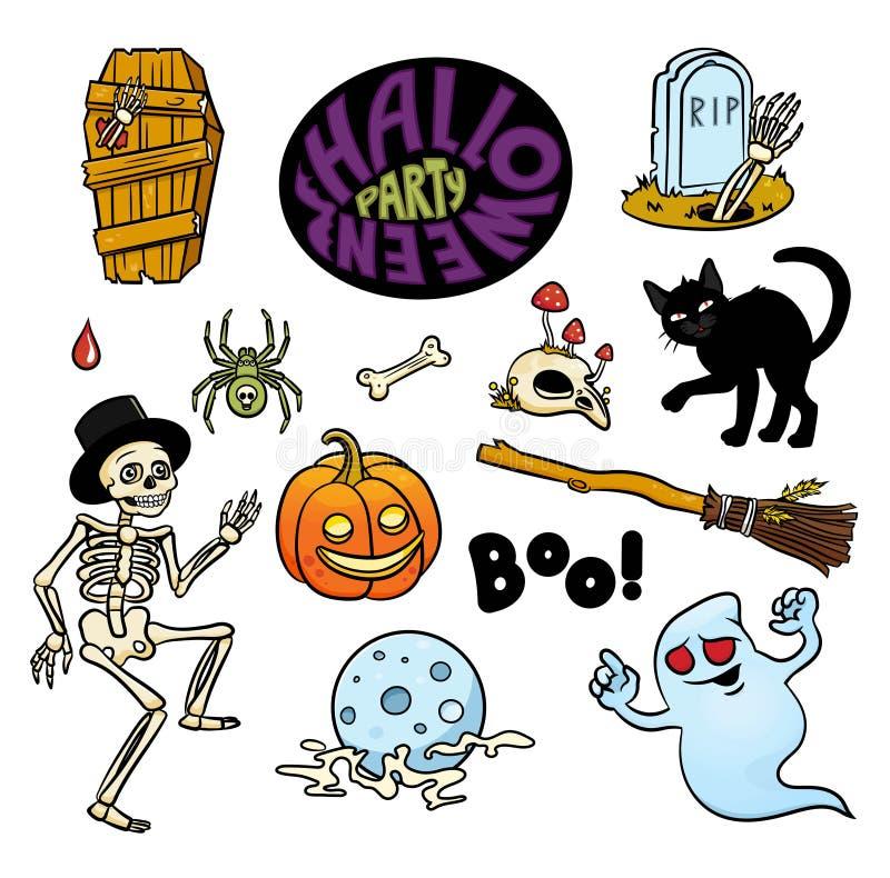Satz Halloween-Charaktere und Text ` Halloween-Partei ` in der Karikaturart vektor abbildung