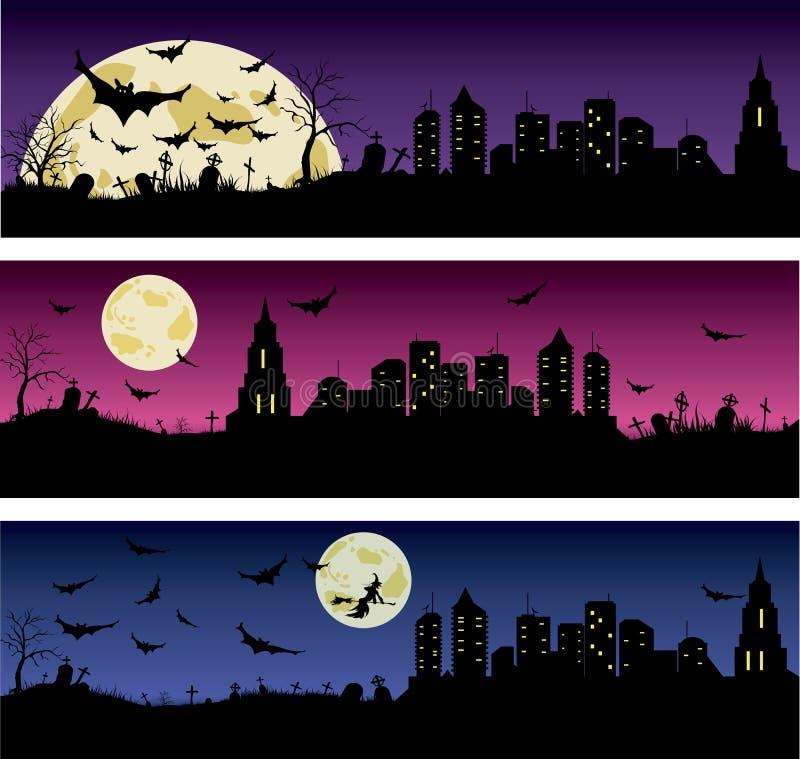 Satz Halloween-Nachtfahnen stock abbildung