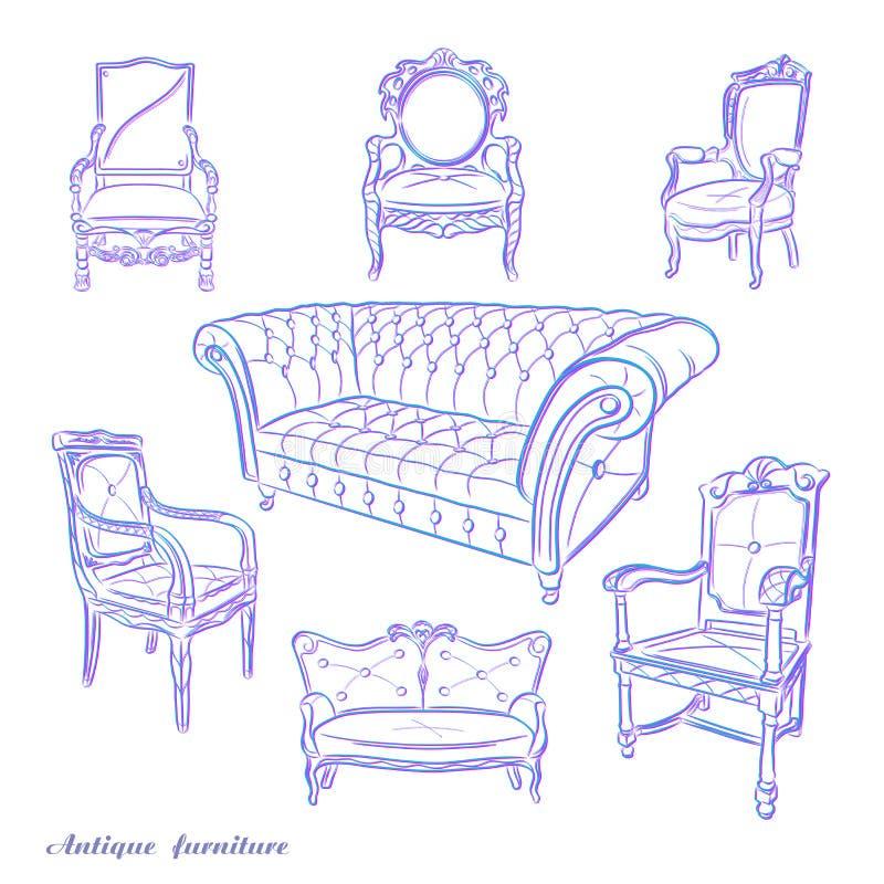 Satz Hand gezeichnete antike Möbel Antike Möbel Retro- Möbel lizenzfreie abbildung