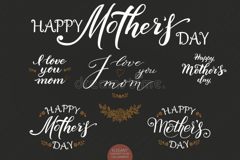 Satz Hand gezeichnete Beschriftung - glücklicher Mutter-Tag Elegante moderne handgeschriebene Kalligraphie Vektortintenillustrati stock abbildung