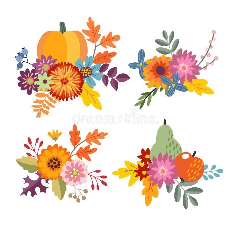 Satz Hand gezeichnete Blumensträuße, die vom Kürbis gemacht werden, Apfel und Birne tragen Früchte Blumenzusammensetzung mit bunt lizenzfreie abbildung