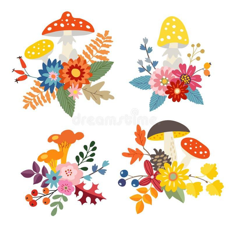 Satz Hand gezeichnete Blumensträuße gemacht von den Pilzen, von den bunten Blättern und von den Blumen Herbst, Fallblumenzusammen vektor abbildung