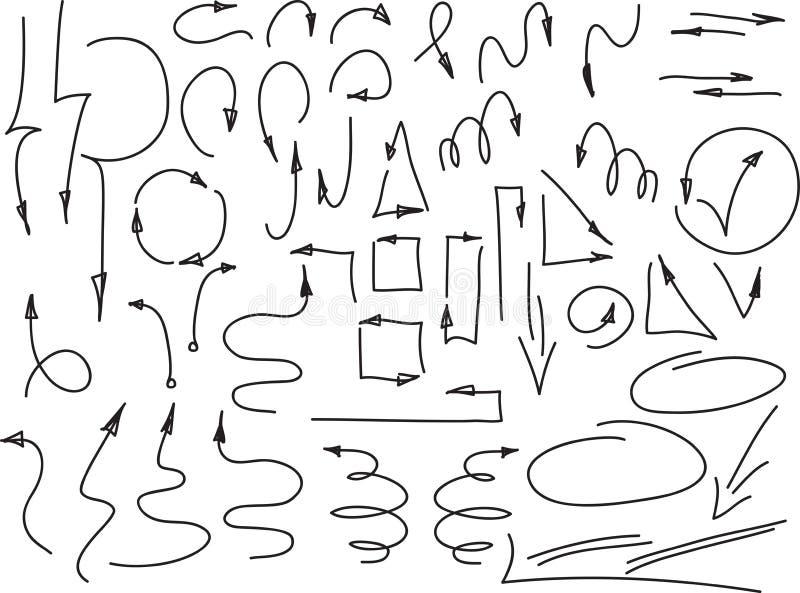 Satz Hand gezeichnete dünne Pfeile und andere Elemente, auf Weiß Auch im corel abgehobenen Betrag stock abbildung