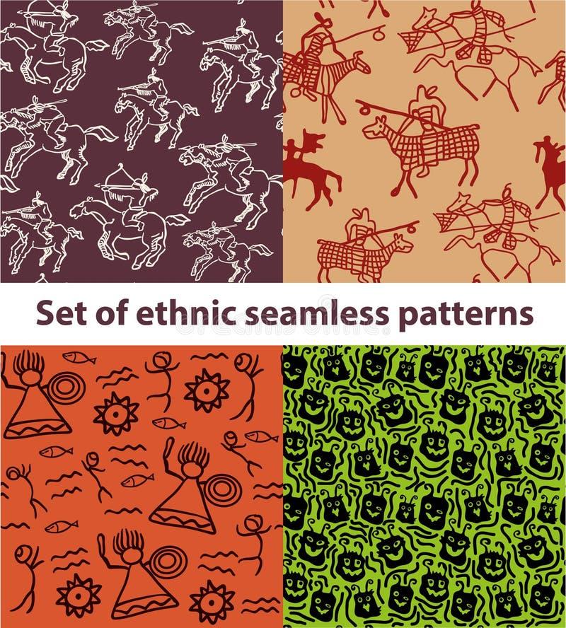 Satz Hand gezeichnete ethnische Stammes- nahtlose Muster vektor abbildung