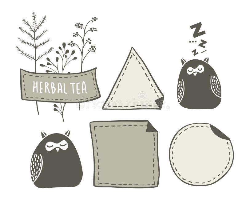 Satz Hand gezeichnete Gekritzelaufkleber mit lustigen Schlafenvögeln und netten Anlagen für Kräutertee lizenzfreie abbildung