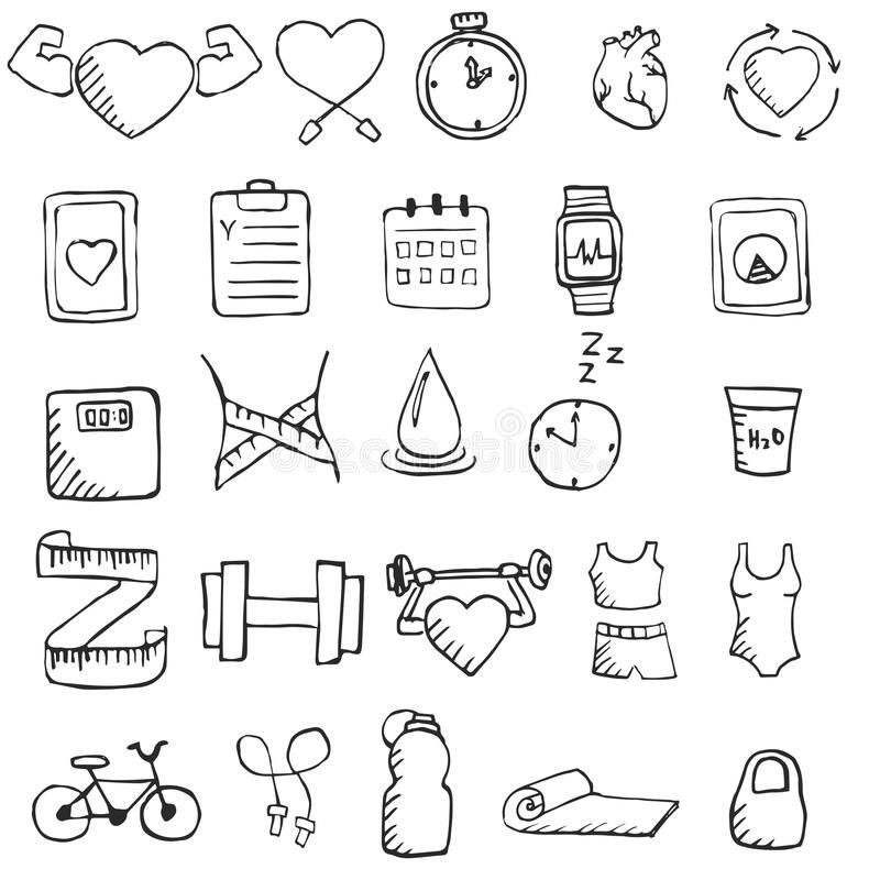 Satz Hand gezeichnete gesunde Lebensstilikonen eingestellt stock abbildung