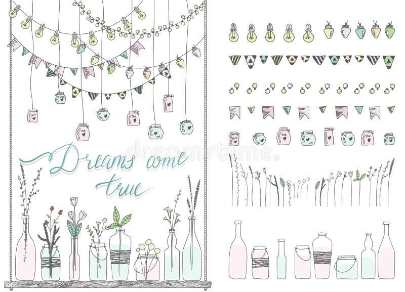 Satz Hand gezeichnete Grenzen, Girlanden, Gläser, Flaschen mit Blumen vektor abbildung