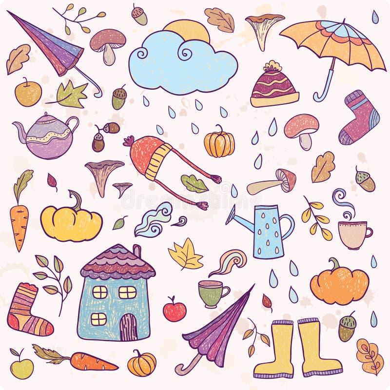 Satz Hand gezeichnete Herbstikonen stock abbildung