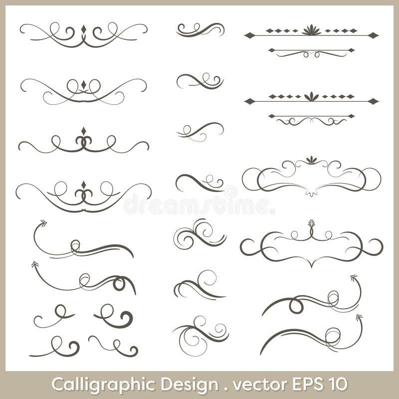 Satz Hand gezeichnete kalligraphische und dekorative Gestaltungselemente, deashes und Teiler vektor abbildung
