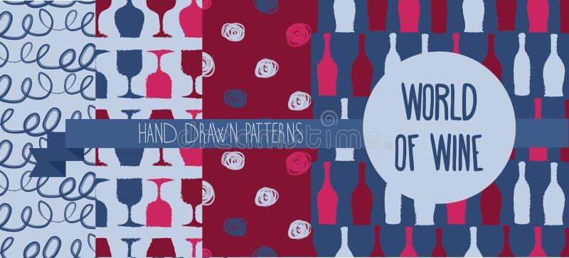 Satz Hand gezeichnete nahtlose Hintergründe mit Flaschen und Gläsern für Wein lizenzfreie abbildung