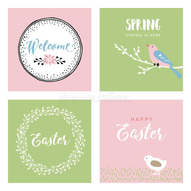 Satz Hand gezeichnete Ostern-Grußkarten, Einladungen mit Vogel, Huhn und Blumen Frühlingskonzept, Weinlesedesign vektor abbildung