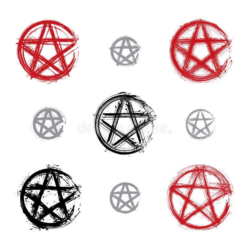 Satz Hand gezeichnete Pentagramikonen gescannt lizenzfreie abbildung