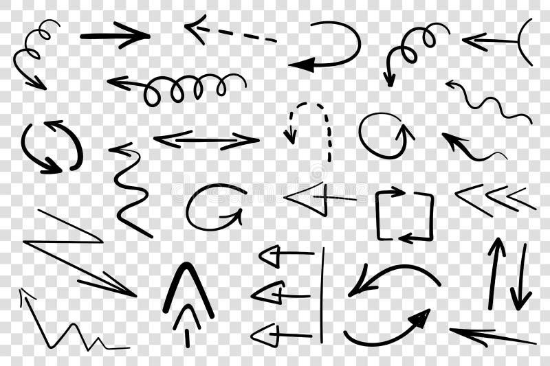 Satz Hand gezeichnete Pfeile lokalisiert lizenzfreie abbildung