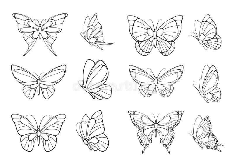 Satz Hand gezeichnete Schmetterlinge stock abbildung